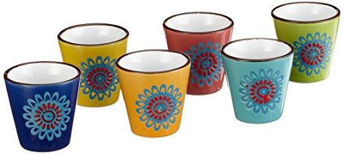 Villa d'Este Home Tivoli Sunflower Lot de gobelets à café, Céramique, Multicolore, 6 unités