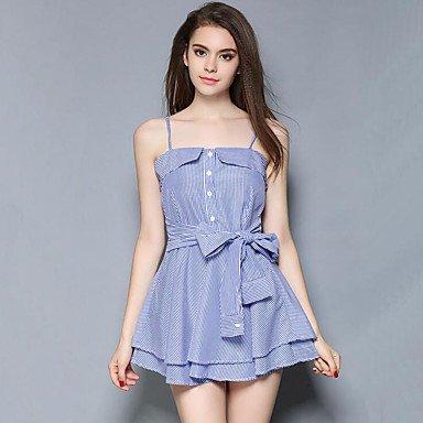 PU&PU Robe Aux femmes Gaine simple / Chic de Rue,Rayé A Bretelles Au dessus du genou Polyester BLUE-XL