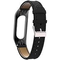 Cooljun pour Xiaomi Mi Band 3,Bracelet de Bracelet en Cuir de Remplacement + Couvercle de boîtier en métal