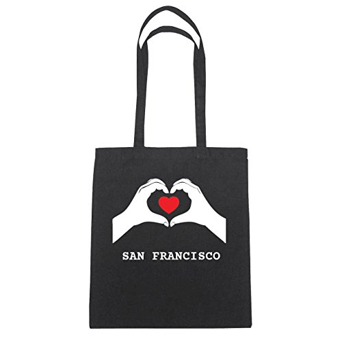 JOllify San Francisco di cotone felpato b4441 schwarz: New York, London, Paris, Tokyo schwarz: Hände Herz