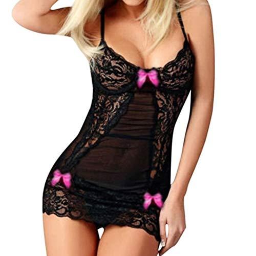 Lace Elasthan Nachthemd (GET Fresh Frauen Lace Bowknot Decor Nachthemd Criss Cross Riemchen Dessous Kleid Set-Hot Pink Medium)