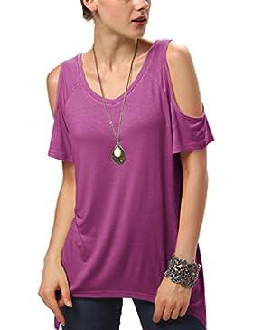 [Patrocinado]Urban GoCo Mujeres Casual Tallas Grandes Camiseta Slim Fit V Cuello Off Shoulder Túnica Tops