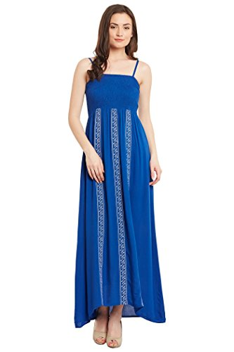 The Vanca Blue Enbroidered Maxi Dress For Women