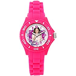 Disney - W001564 - Violetta girl's watch with an analogue quartz white dial and pink silicone strap