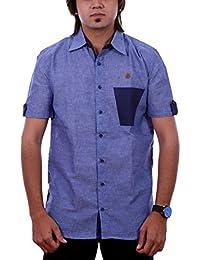 PP Shirts Men Blue Coloured Solid Shirt
