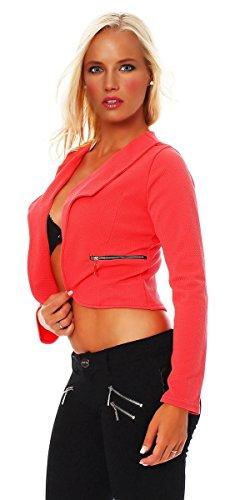 Fashion4Young 10256 blouson pour femme style blazer court veste boléro design disponible en 7 couleurs - Corail