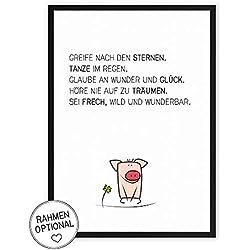 Glück-Schwein - Greif nach den Sternen -Kunstdruck auf wunderbarem Hahnemühle Papier DIN A4 -ohne Rahmen- schwarz-weißes Bild Poster zur Deko im Büro/Wohnung /als Geschenk Mitbringsel zum Geburtstag.