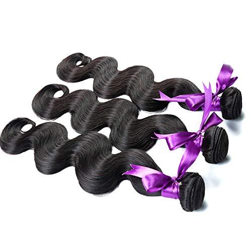 e Haarverlängerungs-Haar spinnt Körper-Wellen-Haar bündelt Grad-8A-Menschenhaar-Webart-natürliche Farbe Nicht Remy Haar-Verlängerung 12-28 Zoll 3 Bündel Perücken ()