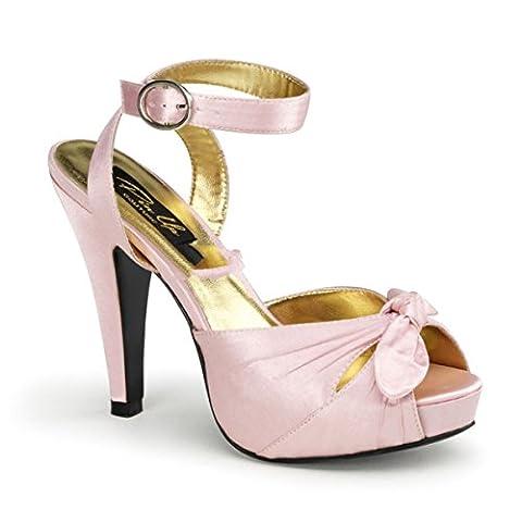 Pinup Couture Bettie-04 Sexy Retro High Heels Plateau Schleifchen Sandaletten Satin Baby Pink 35-42, Größe:EU-39 / US-9 / UK-6