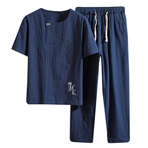 Sommer Neue Baumwolle und Hanf Kurzarm Lange Hosen Mode bequeHerren Anzug ()