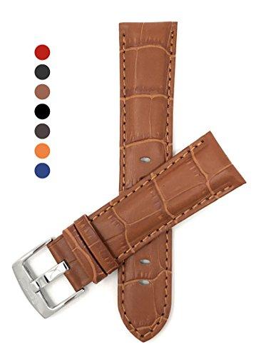 Leder Uhrenarmband 24mm für Herren, Hellbrun, Alligatormuster, auch verfügbar in schwarz, braun, blau, rot