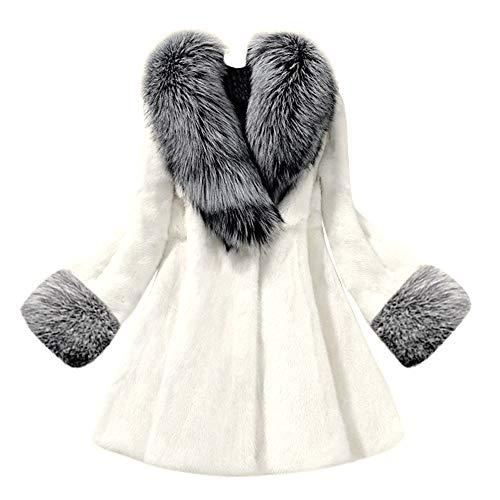 VRTUR Damen Warmer Winter lose Langarm Parka Outwear Fox Pelzmantel Mantel(X-Large,X-Weiß)