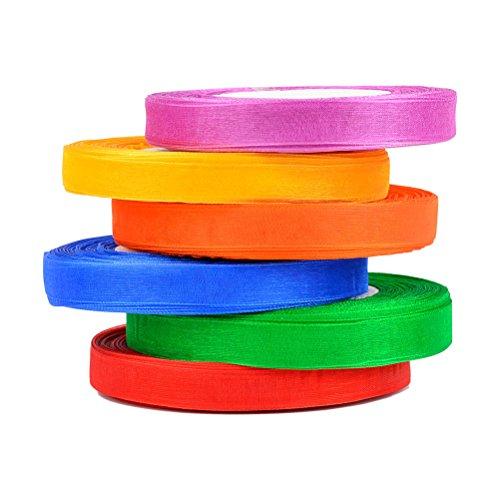 QLOUNI 6er Sartinband 45m X12mm Seidenbänder Seidenband Schleifenband stoffband Geschenkband WeihnachtsbandDekoband für Hochzeit Weihnachten Geschenkverpackung Neujahr, 6 Farben