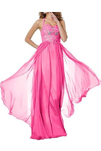 TOSKANA BRAUT Romantisch Neu Neckholder Spitze Chiffon Paillette Promkleider Partykleider Abendkleider Lang Ballkleider Pink
