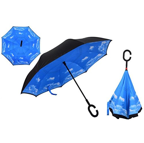 Autonorth Double Layer Reverse Outdoor Stick Umbrella Windproof Waterproof and Self Standing Inside Out Umbrella Best for Travelling and Car Using Color Blue with White Cloud