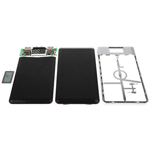 MagiDeal DIY 5V 2A Doppel USB Power Bank Energienbank Fall Kit Für Batterieladegerät, Haltbar, Tragbare - Schwarz