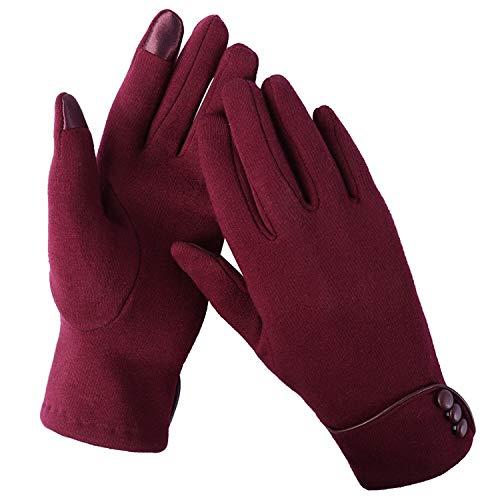 Aibrou Touchscreen Handschuhe Damen Winterhandschuhe Fahrradschuhe Frauen Handschuhe Winter Warm Handschuhe mit Fleecefutter in Rot, Schwarz und Grau (Rot, Normal)