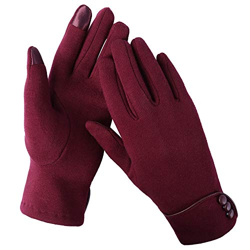 Warme Winter-handschuhe (Aibrou Touchscreen Handschuhe Damen Winterhandschuhe Fahrradschuhe Frauen Handschuhe Winter Warm Handschuhe mit Fleecefutter in Rot, Schwarz und Grau (Rot, Normal))