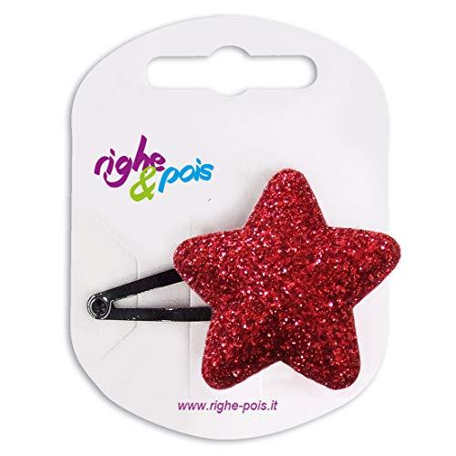 354 – 802 – Pince pour cheveux clic clac cm 5 avec étoile bombée paillettes cm 4 – Pinces pour Cheveux rouge
