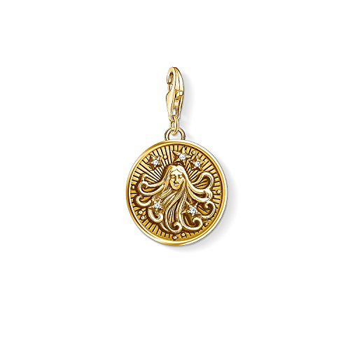 Thomas Sabo Damen Herren-Charm-Anhänger Sternzeichen Jungfrau Charm Club 925 Sterling Silber vergoldet 1657-414-39