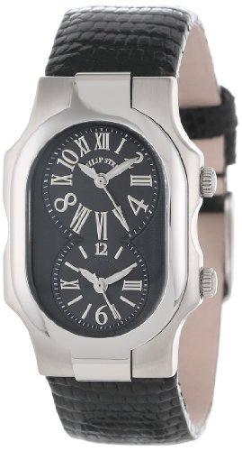 Philip Stein Women's 1-MB-ZB Signature Black Dial Black Lizard Strap Watch