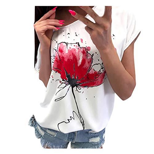 Grüne Kid Kostüm Mann Armee - iHENGH Damen Top Bluse Lässig Mode T-Shirt Frühling Sommer Bequem Blusen Frauen Women Girls Plus Size Print Tees Shirt Short Sleeve T-Shirt Blouse Tops (Weiß, XL)