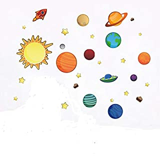 awakink Colorful Planeten in der Space Solar System mit Star Wandaufkleber Abnehmbare Aufkleber für Mädchen und Jungen Kinderzimmer Baby Raum Kinder Schlafzimmer