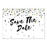 15 x Save the Date Karten mit Umschlag / Bunte Punkte Modern / Hochzeit / Liebe / Heirat / Einladung / Verkündung
