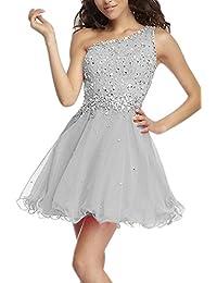6cb620ff367832 Carnivalprom Damen Ein-Traeger Abendkleider Kurz Paillette Steine  Cocktailkleid Partykleid Abendmode