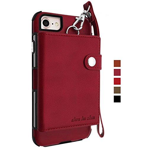 INFLATION Handy Hülle Schutzhülle Tasche als Geldbeutel Brieftasche PU Leder case mit Kartenfächern Druckknopf Leine Handycase Handyhülle für iPhone 7 Plus/8 Plus Weinrot