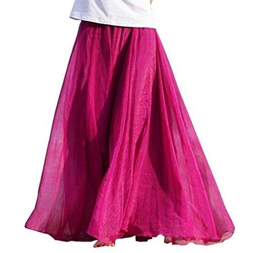 Vovotrade® Femmes élastique de Taille en Mousseline de Soie Longue Robe de Plage Maxi Jupe Décontractée rose chaud