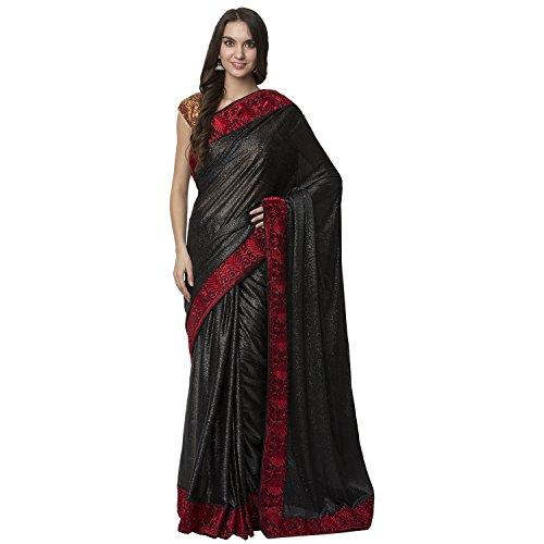 La Vastraa Shimmer Georgette Women's Black Saree