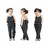 Familizo Barboteuses de Coeur de Filles D'enfants, Vente Chaude Sangles Barboteuses Pantalons Combinaisons (Noir, 7Ans)