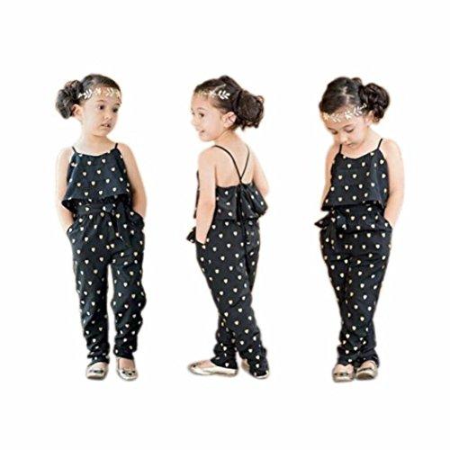 Familizo Barboteuses de Coeur de Filles D'enfants, Vente Chaude Sangles Barboteuses Pantalons Combinaisons (Noir, 3Ans)