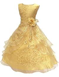 LSERVER- Pizzo Floreale Bowknot del Organza ragazza vestito ricamato con  paillette da ragazza Princess-Abito da. 82b0a83b2ed
