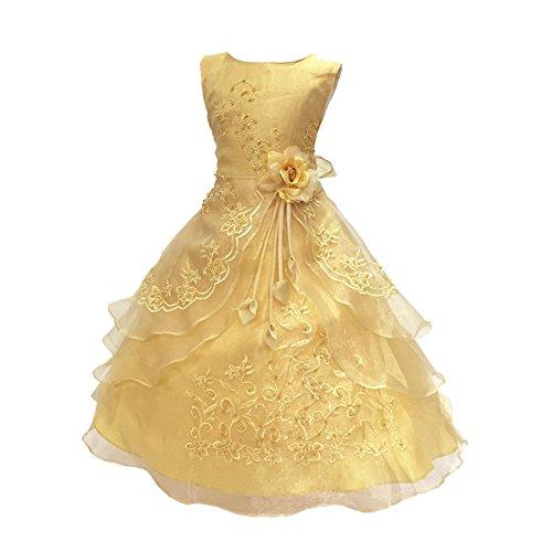 Free Fisher Mädchen Abendkleid Spitzenkleid Ärmellos, Golden, Gr.116/122( Herstellergröße: 120)