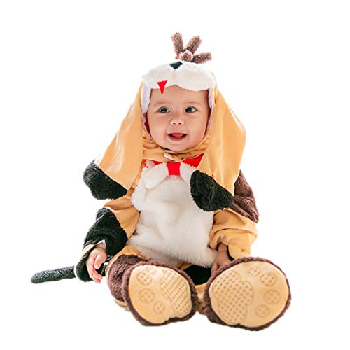 Baby Strampler Herbst Winter Flanell Jumpsuit Jungen Mädchen Pyjama Kinder Kleinkind Pjs Halloween Tier Cosplay Kostüm, 90 cm
