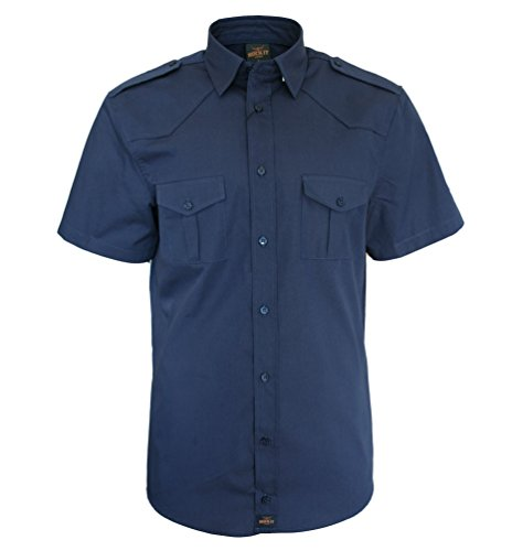 ROCK-IT Apparel® Herren Hemd Kurzarm US-Hemd im Military Look Worker Hemd Worker Shirt Freizeithemd Arbeitshemd Made in Europa Größen S-5XL Farbe Navy Large