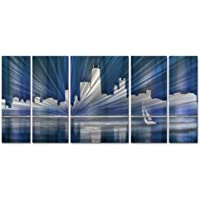 Cool Chicago skyline metal Wall Art – Set of 5 – 56 W x 23.5h