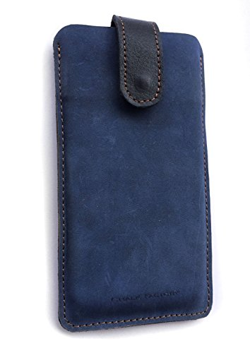 Chalk Factory Genuine Leather Case for SPICE Xlife-520 HD Dual Sim Android 5.1 Lollipop with 1.3 Ghz Quad Core Processor 8MP Camera and 12.7 cm... Mobile Phone (#LP, Blue)