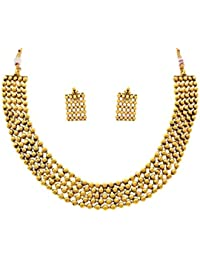 JFL - Traditional Ethnic One Gram Gold Plated Gold Bead Designer Necklace Set For Women & Girls.