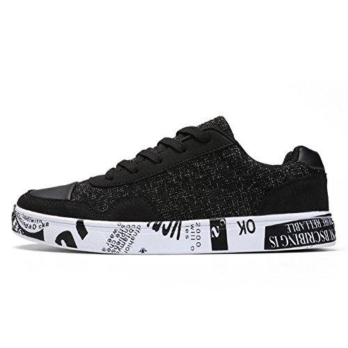 Scarpe da corsa scarpe sportive Scarpe piatte Scarpe da uomo Canvas Usura antiscivolo Sport all'aria aperta Black