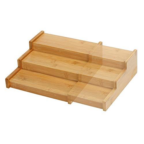 Bambus Holz Gewürzregal Ausziehbar Leer, Küchen Regal Organizer Aufbewahrung, Gewürzständer für Arbeitsfläche, Tisch und Küchenschrank, Verstellbares 3 Etagen Stufen Kräuterregal für Schrank Ordnung
