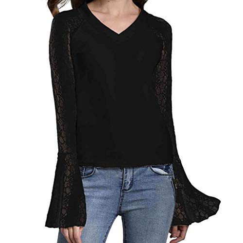 KUDICO Damen Tops T-Shirt Spitze Perspektive Trompetenärmel V-Ausschnitt Hemd Lässige Bluse Tunika Top(Schwarz, EU-44/CN-3XL)