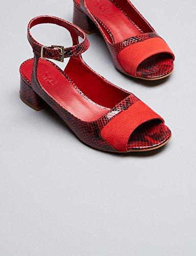 FIND Sandali con Tacco Donna Multicolore (Red Print)