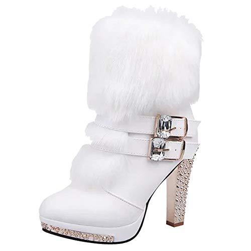 BaZhaHei Damen Schuhe Mode Frauen Wedge Strass Middle Tube Leder Stiefel Reißverschluss High Heels Schuhe Flache Flock Schuhe Schneeschuhe Boots Women Klassische