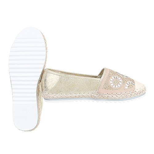 Ital-Design Slipper Damenschuhe Low-Top Moderne Halbschuhe Beige Gold N-35-1