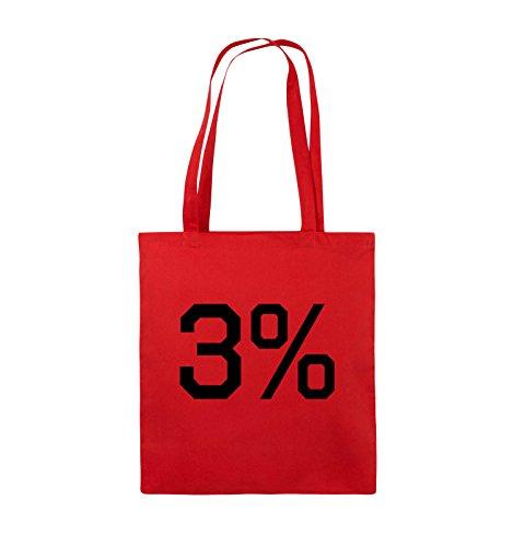 Comedy Bags - 3% - LOGO - Jutebeutel - lange Henkel - 38x42cm - Farbe: Schwarz / Pink Rot / Schwarz