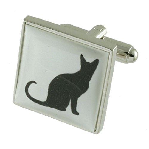 Boutons de manchettes Boutons de manchette Noir Cat~animal~Pochette Cadeau Sélectionner manchette féline