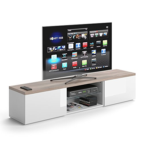 Low Sideboard (VICCO TV Lowboard Zenith 165cm Weiß - Fernsehtisch Sideboard Weiss Board Schrank Regal Fernsehschrank)